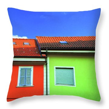 Colorful Walls And A Cloud Throw Pillow by Silvia Ganora
