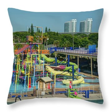 Colorful Water Park Throw Pillow