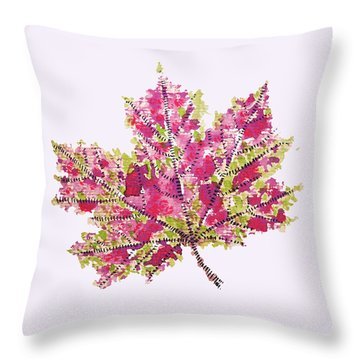 Colorful Watercolor Autumn Leaf Throw Pillow