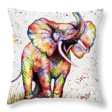 Throw Pillow featuring the painting Colorful Watercolor Elephant by Georgeta Blanaru