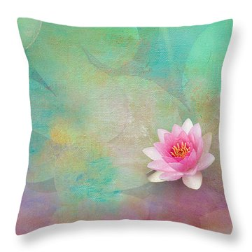 Colorful Waterlily Throw Pillow by Carolyn Dalessandro