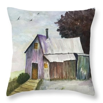 Colorful Weathered Barn Throw Pillow by Lucia Grilletto