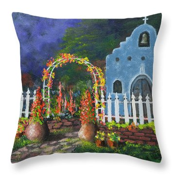 Colorful Welcome Throw Pillow by Jerry McElroy