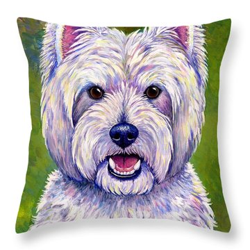Colorful West Highland White Terrier Dog Throw Pillow