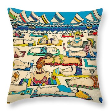 Colorful Whimsical Beach Seashore Women Men Throw Pillow by Rebecca Korpita