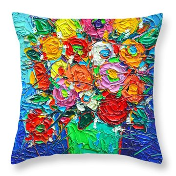 Colorful Wildflowers Abstract Modern Impressionist Palette Knife Oil Painting By Ana Maria Edulescu  Throw Pillow