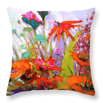 Throw Pillow featuring the painting Colorful Wildflowers Bunch, Oil Painting, Palette Knife by Patricia Awapara