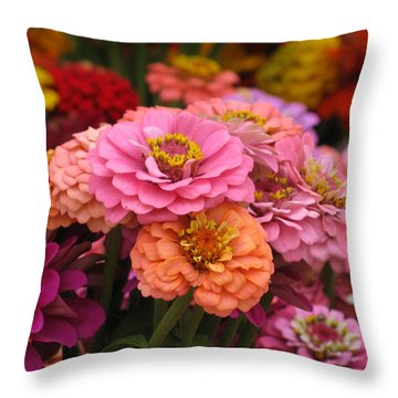 Colorful Zinnias Throw Pillow