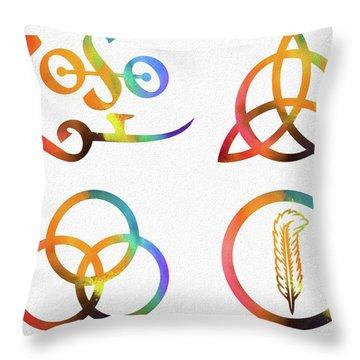 Colorful Zoso Symbols Throw Pillow