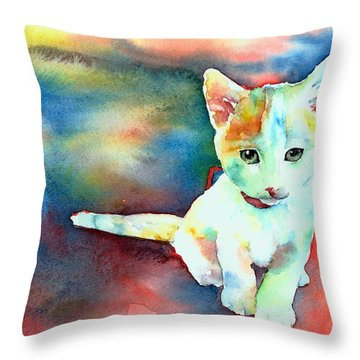Throw Pillow featuring the painting Colorfull Kitty by Christy  Freeman