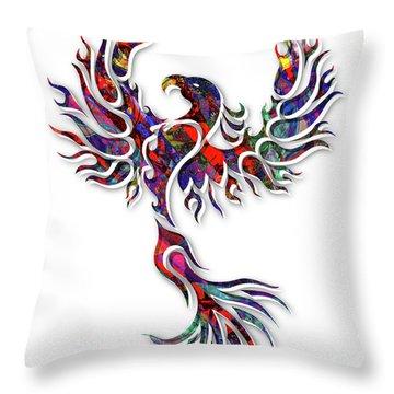 Colorful Phoenix Throw Pillow