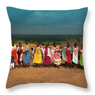 Throw Pillow featuring the photograph Colors And Faces Of The Masai Mara by Karen Lewis