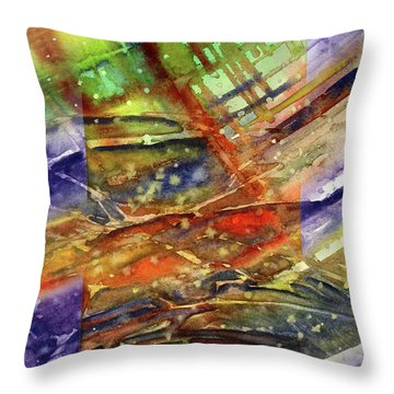 Colors Interrupting Throw Pillow by Allison Ashton