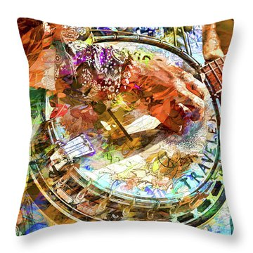 Colors Of A Banjo Busker Throw Pillow