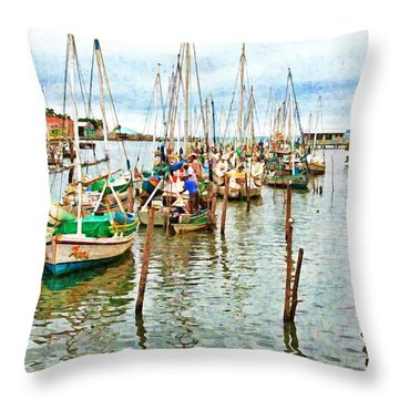 Colors Of Belize - Digital Paint Throw Pillow
