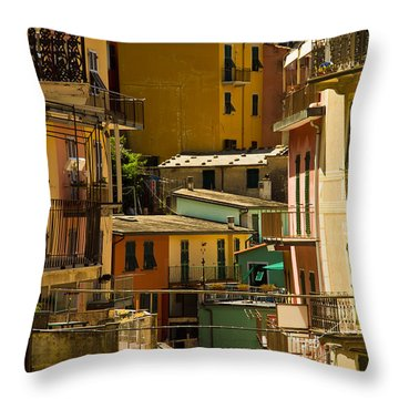 Colors Of Manarola Italy Throw Pillow by Roger Mullenhour