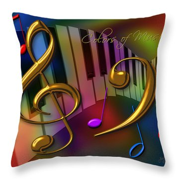 Throw Pillow featuring the digital art Colors Of Music by Judi Quelland