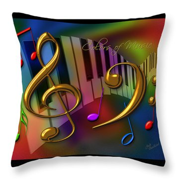 Colors Of Music Throw Pillow