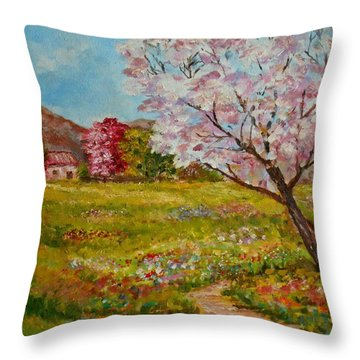 Colors Of Spring Throw Pillow