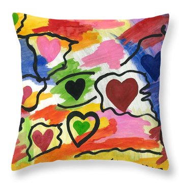 Colors Of The Heart Throw Pillow