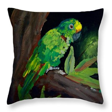 Colors Of The Parrot Throw Pillow by Michael Grubb