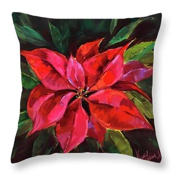 Colors Of The Season Poinsettias Throw Pillow