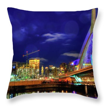 Throw Pillow featuring the photograph Colors Of The Zakim Bridge - Boston, Ma by Joann Vitali