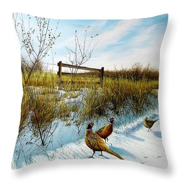 Colors Of Winter - Pheasants Throw Pillow