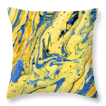 Throw Pillow featuring the painting Colors On The Lake by Menega Sabidussi