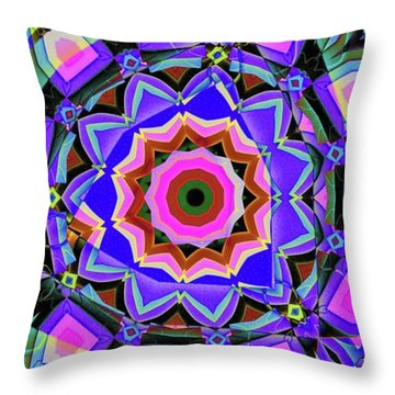 Colors O're Laid Throw Pillow by Ron Bissett