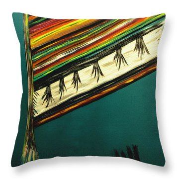 Throw Pillow featuring the painting Colors Torn From Long Ago From The Indian Nation- Painting by Renee Anderson