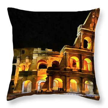 Colosseum Under The Moon Throw Pillow by Mario Carini