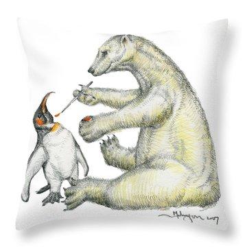 Colour Bear Throw Pillow