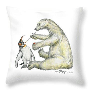 Colour Bear Throw Pillow by Mark Johnson