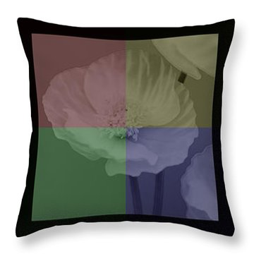 Colour Block Poppy Triptych Throw Pillow by Lisa Knechtel