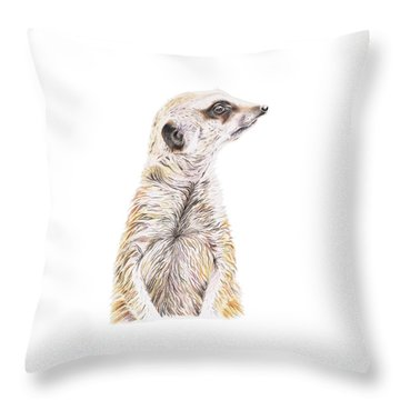Throw Pillow featuring the drawing Colour Meerkat by Elizabeth Lock