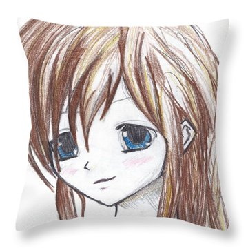 Coloured Anime Throw Pillow