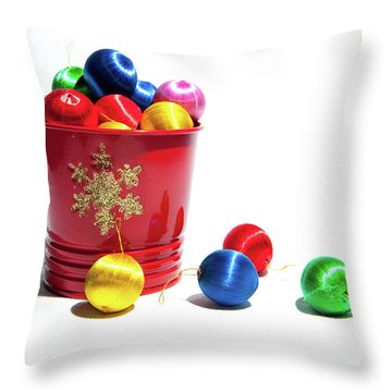 Coloured Baubles In A Pot Throw Pillow