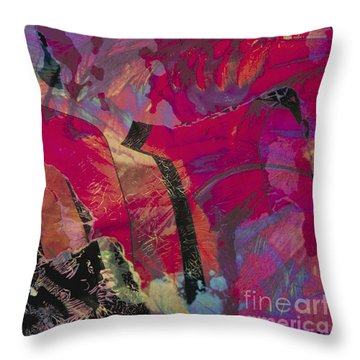 colourful abstract fantasy landscape - Red Mountain Throw Pillow