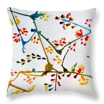 Colourful Blossoms Throw Pillow by Sonali Gangane
