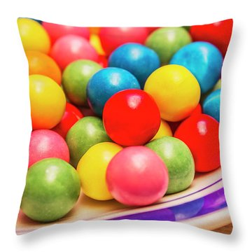 Colourful Bubblegum Candy Balls Throw Pillow