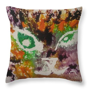 Throw Pillow featuring the drawing Colourful Cat Face by AJ Brown
