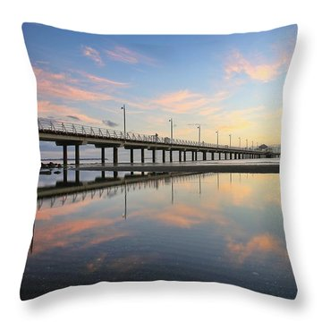 Colourful Cloud Reflections At The Pier Throw Pillow