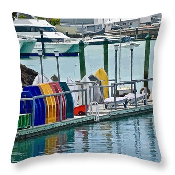 Colourful Dinghies Auckland Throw Pillow
