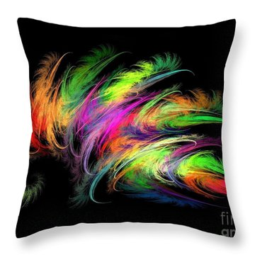 Colourful Feather Throw Pillow