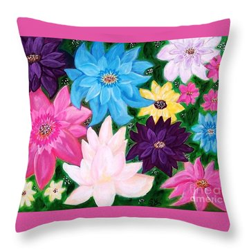 Throw Pillow featuring the painting Colourful Flowers by Sonya Nancy Capling-Bacle
