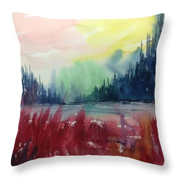 Colourful Forest No.1 Throw Pillow