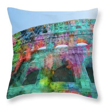 Throw Pillow featuring the mixed media Colourful Grungy Colosseum In Rome by Clare Bambers