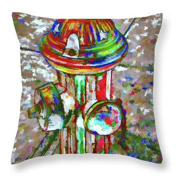 Colourful Hydrant Throw Pillow by Lanjee Chee