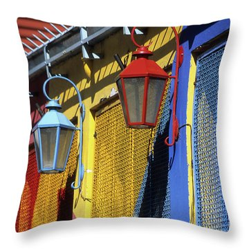 Colourful Lamps La Boca Buenos Aires Throw Pillow